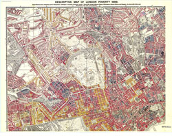 Charles Booth's descriptive map of London poverty 1889, NW